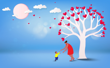Happy mother's day. Mom and her son child are playing, smiling and hugging on a heart tree shaped background. Family holiday and togetherness. Vector illustration. Illustration
