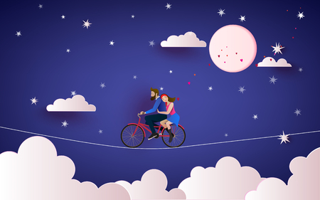 A Couple riding bicycle on the wire to the night sky. Love concept. Happy Valentines Day wallpaper, poster, card. Vector illustration. Çizim