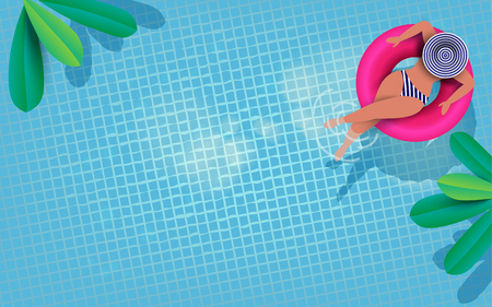 Aerial view of people relaxing on donut lilo in the pool. Summer holiday idyllic. High view from above. Vector illustration. Banque d'images - 97553656