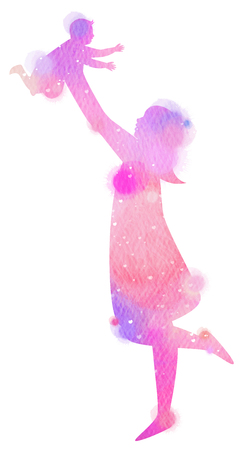 Silhouette watercolor of Happy parents having good time with their little children. Mother and daughter. Mothers day. Digital art painting.