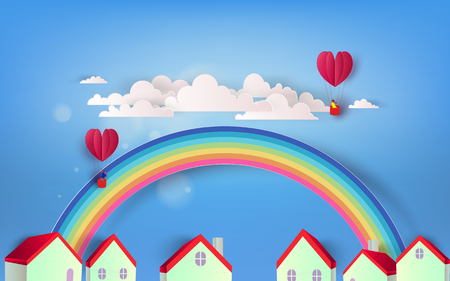 Beautiful rainbow and heart balloons over town Ilustração