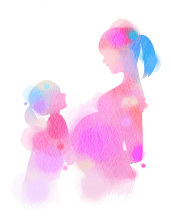 Happy family silhouette on watercolor background. Mother and daughter. Mothers day. Digital art painting.