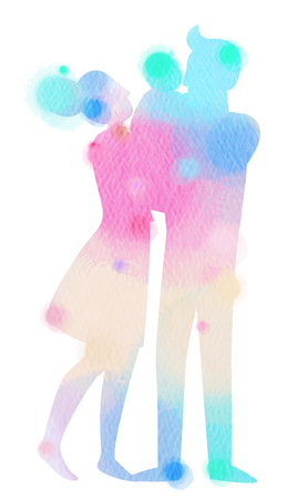 Silhouette watercolor of happy parents having good time with their little children. Digital art painting. Stock Photo
