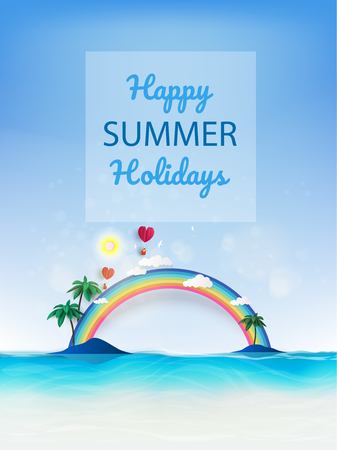 Summer beach vacation holidays time poster with tropical colorful background.