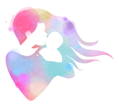 Happy family silhouette on watercolor background. Mother and baby. Mothers day. Digital art painting. Stock Photo