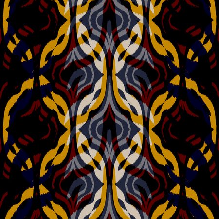 Ikat seamless pattern  as cloth, curtain, textile design, wallpaper, surface texture background.