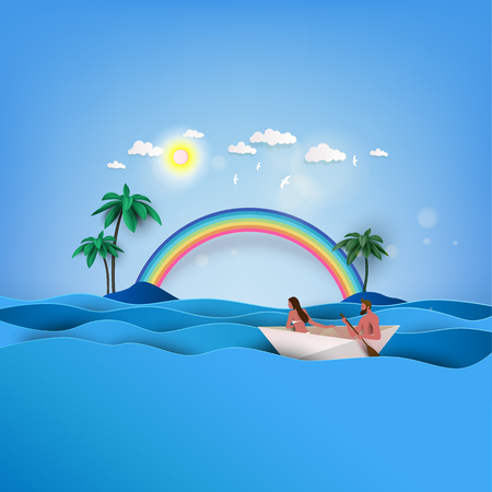 Love couple in summertime on the tropical paradise beach. Palms and plants around. Seaside vacation vector. Travel concept.