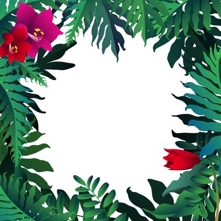 Amazing tropical forest design border frame template. Ilustração