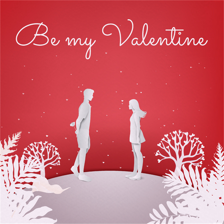 Happy couple in love. Young man hiding a flower back with lettering Be ny Valentine. Valentine's day vector card.