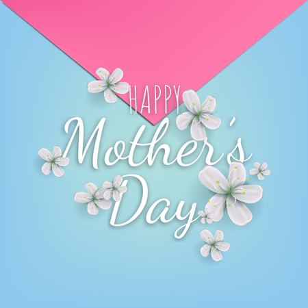 Mothers day greeting card with beautiful blossom flowers.