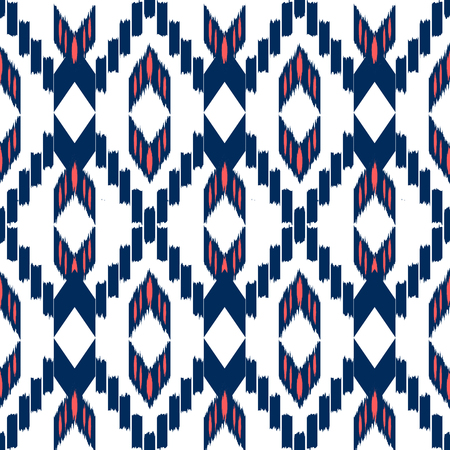 Ikat Seamless Pattern Design. Ethnic fabric. Bohemian fashion. Illustration