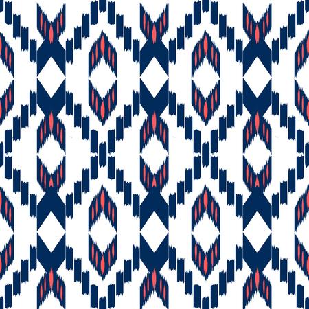 Ikat Seamless Pattern Design. Ethnic fabric. Bohemian fashion. Illustration