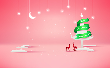 Merry Christmas and Happy New Year. Christmas sale. Holiday background. paper craft style. Ilustração