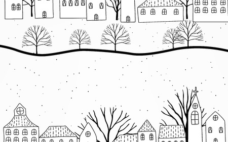 Merry Christmas and Happy New Year. Christmas sale. Holiday background. Trees and houses on winter snowy landscape. Doodles vector.