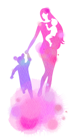 Double exposure illustration. Side view of Happy mom holding adorable baby child silhouette plus abstract water color painted. Mother's day. Digital art painting.