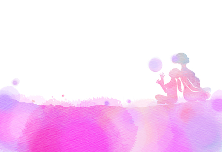 Happy mom and child exercise silhouette on watercolor background. Mother and kid doing yoga. Mothers day. Health care concept. Digital art painting.