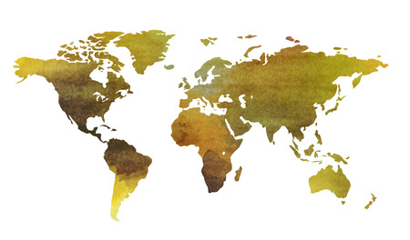 World map in watercolor style isolated on white background 스톡 콘텐츠 - 112931421