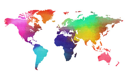 World map in watercolor style isolated on white background