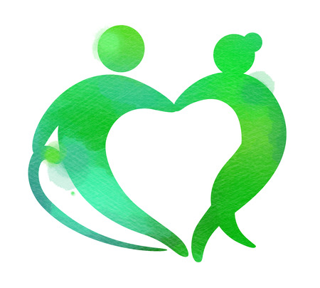 Elderly healhtcare heart shaped logo. Nursing home sign silhouette on watercolor background. Digital art painting.
