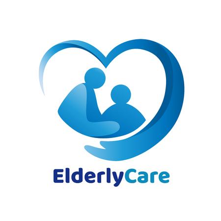 Elderly healthcare heart shaped . Nursing home sign