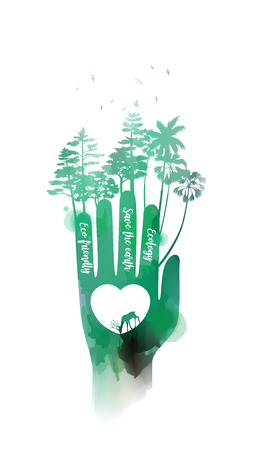 Double exposure illustration. Human hands holding environment symbol with watercolor. Concept illustration for environment care or help project. Digital art painting. Vector illustration