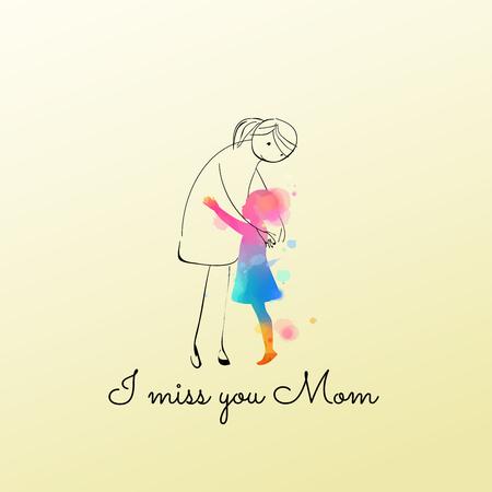 Akwarela z dziewczyną przytulającą wyobraź sobie mamę. Dziewczyna tęskni za matką