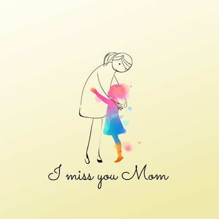 Aquarell des Mädchens, das sich umarmt, stellen Sie sich Mama vor. Mädchen vermisst ihre Mutter