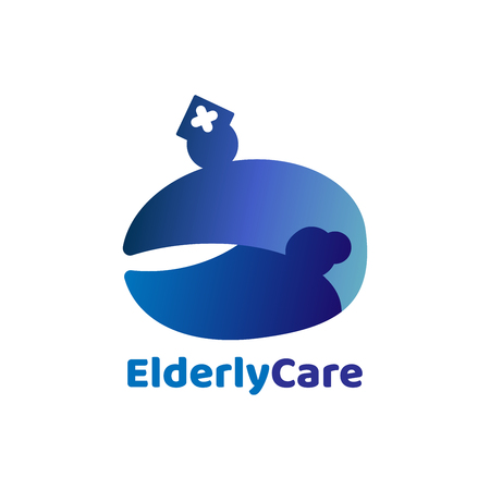 Elderly healthcare  logo. Nursing home sign