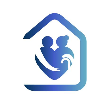 Ouderen gezondheidszorg hartvormig logo. Verpleeghuis teken