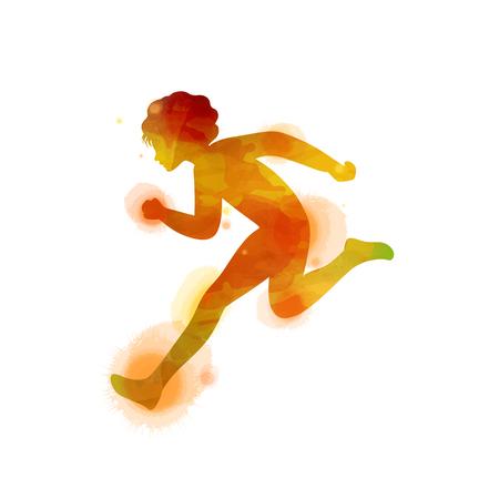 Kid's running silhouette on watercolor background. Runner vector illustration. Digital art painting