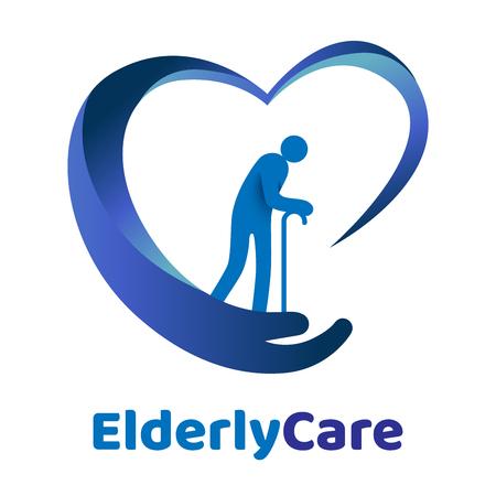 Logo en forme de coeur de soins de santé aux personnes âgées. Signe de maison de retraite. Logo