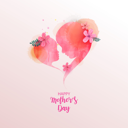 Double exposure illustration. Side view of Happy mom with daughter silhouette plus abstract water color painted. Mother's day. Digital art painting