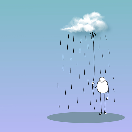Sad man under the rain cloud - depressed and tired. Unhappy people