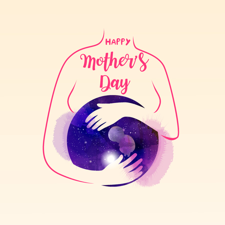 Double exposure illustration. Pregnant women silhouette plus abstract water color painted. Mother's day. Digital art painting Stok Fotoğraf - 124849675