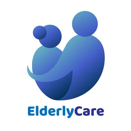 Herzförmiges Logo für ältere Menschen im Gesundheitswesen. Pflegeheim-Zeichen Logo