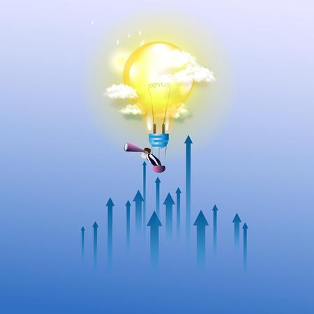 Businessman flying with Spyglassin in a hot air balloon. Concept illustration Ilustração