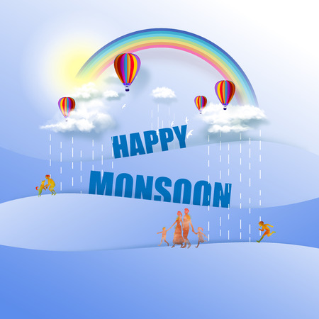 Happy Monsoon Poster Or Sale Banner Template Design. Hot air balloons in cloudy sky with rainbow on good weather background. Fantasy vector illustration