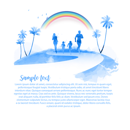 Happy family running silhouettes watercolor. Travel insurance with beautiful cloudy and rainbow. Nature and healthy life. Vector illustration