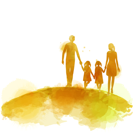 Parents having good time with their child.  Happy family walking together isolated on white background. Watercolor style. Vector illustration Standard-Bild - 120248903