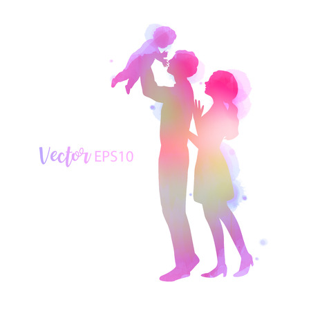 Parents having good time with their child.  Happy family walking together isolated on white background. Watercolor style. Vector illustration.