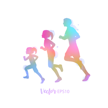 Happy family running silhouettes watercolor. Healthy life. Vector illustration