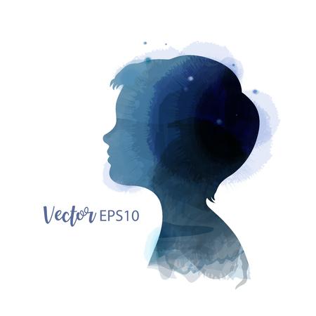 Boy head silhouette plus watercolor. Digital art painting. Vector illustration