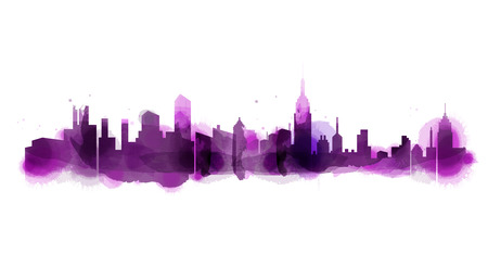 Silhouette of city skyline in watercolor background. Skyscraper with Copy Space Vector Illustration