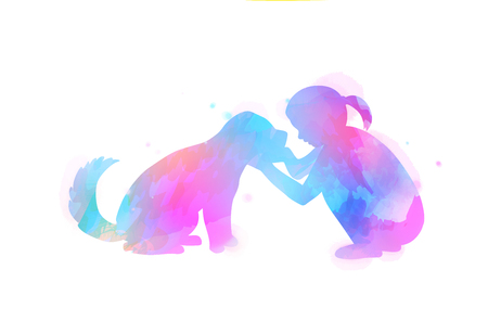 Pet care. Girl playing with dog  silhouette on watercolor background. The concept of trust, friendship . Digital art painting Stockfoto - 120249331
