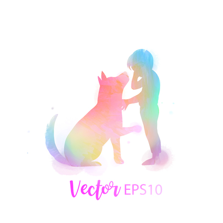Pet care. Girl playing with dog  silhouette on watercolor background. The concept of trust, friendship . Digital art painting Stock Illustratie