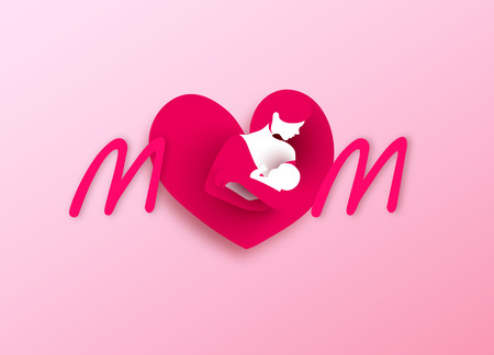 Happy parents having good time with their little children. Mother and baby in heart shaped logo. Mothers day. Mom and child Health.