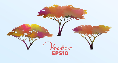 Set of watercolor trees . Vector illustration.
