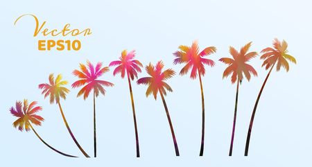 Set of watercolor palm trees . Coconut plant isolated. Vector illustration.