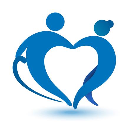 Ouderen gezondheidszorg hartvormig logo. Verpleeghuis teken.