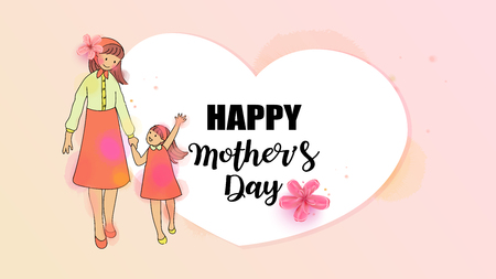 Happy mom with her child. Mothers day. Family holiday and togetherness. Mom and child Health. Vector illustration. Illustration